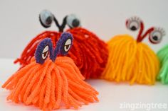 Learn How To Make These Easy Mischievous Yarn Monsters Yarn Crafts For Kids, Craft Activities For Kids, Crafts For Teens, Craft Ideas, Summer Camp Crafts, Camping Crafts, Drinking Straw Crafts, Yarn Monsters, Monster Activities