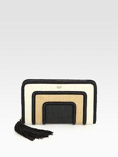 anya hindmarch straw + leather clutch