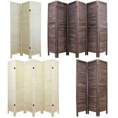 Wooden Slat Room Divider Privacy Screen Partition Blind Wide Shabby Chic Vintage | eBay