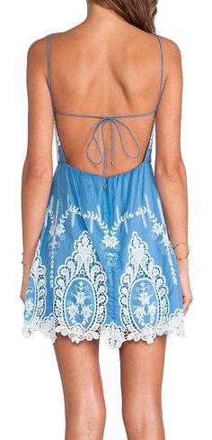 Dusty blue lace dress