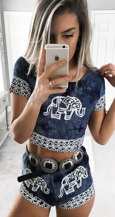 #summer #young #outfits |  Elephant Print Two Piece Set
