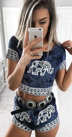 #summer #young #outfits |  Ελέφαντας Εκτύπωση Δύο Piece Set