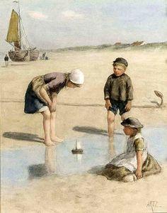 Children Playing On The Beach,David Adolf Constant Artz (1837 – 1890, Dutch)