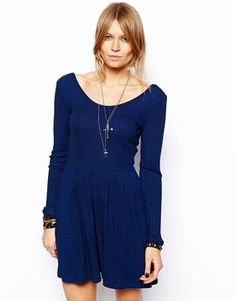 Image 1 of ASOS Rib Playsuit With Long Sleeves