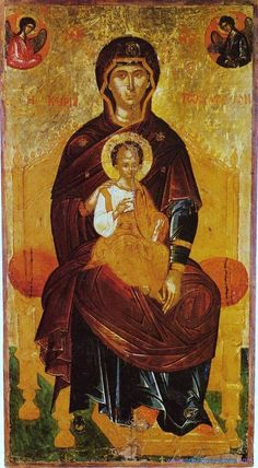 Virgin Enthroned with Jesus icon Madonna, Byzantine Icons, Byzantine Art, Religious Icons, Religious Art, Art Timeline, Christian Artwork, Religion Catolica, Russian Icons