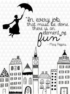 Mary Poppins Black&White Print