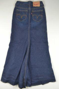 Levi's Surplus Denim Skirt 12 Jean Maxi Long Medium Side Slit ...