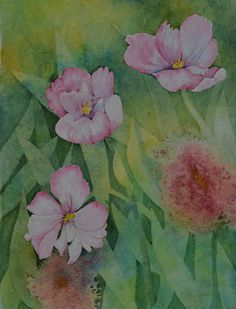 Spring blooms watercolor painting original floral painting