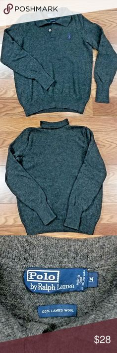 Polo Ralph Lauren 100% Lambswool Small/Medium Polo Ralph Lauren Mens Sweater 100% Lambswool Made in China of Italian Yarn Gray V Neck Size Medium (It seems to run a size smaller. See measurements in photos) Polo by Ralph Lauren Sweaters V-Neck