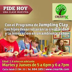 Con el programa de #JumpingClay, tus hijos desarrollarán la creatividad y la innovación en un ambiente sano.    Para niños de 2.6 años en adelante todos los martes y jueves de 5-6pm, y de 6-7pm.    Pide tu clase muestra en Creartik Cancún.