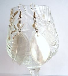 White upcycled earrings made of recycled plastic bottle with pearls eco friendly clear bridal wedding