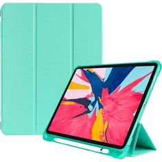 Tablet Case Case for IPad Pro 11 Inch 2018 Three-Folding Shockproof TPU Protective Case with Holder Pen Slot Color : Mint Green Phones-Communication Cases Accessories Cases-Sleeves