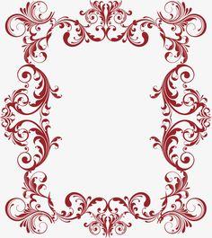 Desenho Arabesco Vermelho, Videiras Pintadas à Mão, Moldura, SimplesImagem PNG