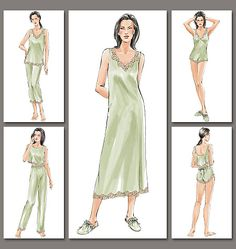 V7837, Misses'/Misses' Petite Camisole, Shorts, Teddy, Top, Nightgown, Pants and Slippers