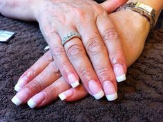 A French gel manicure on square nails