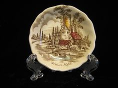 Butter Pat in The Old Mill Brown Multicolor by Johnson Brothers 3 inches wide , scalloped edge inch deep Backstamp: Johnson Bros England 1952 - 1977 Rare butter pat Johnson Bros, Johnson Brothers, Vintage Crockery, Snow Globes, Decorative Plates, Old Things, Butter, Brown, Etsy