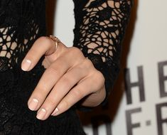Nude Nail Polishes Spark An 'Anti-Nail Art' Trend In Hollywood (PHOTOS, POLL) - Nude and white half moon mani