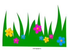 Grass with flowers clip art coloring page Classroom Art Projects, Classroom Decor, Diy And Crafts, Crafts For Kids, Paper Crafts, Flower Fence, Jungle Theme Birthday, Boarder Designs, Spring Coloring Pages