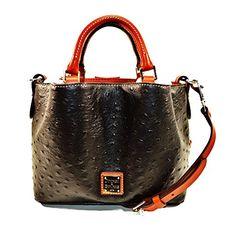 Dooney & Bourke MiniBarlow Ostrich satchel xbody handbag - Black