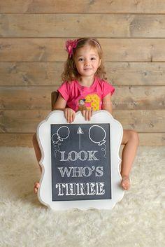 3 Sign Childrens Photo Prop for 3rd Birthday Birthdays Birthday