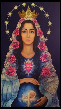 "Pintura a oleo !"" Mãe da vida concebida"" Artista Urzula Rychlinska Blessed Mother Mary, Divine Mother, Blessed Virgin Mary, Catholic Art, Catholic Saints, Religious Art, Catholic Pictures, Jesus Pictures, Saints"