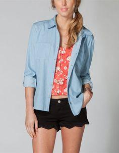 FULL TILT Crochet Lace Back Womens Chambray Shirt