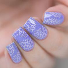 Gorgeous floral nail stamping using Delush Polish's Enchanted plate over Tea-Amoretto nail polish.