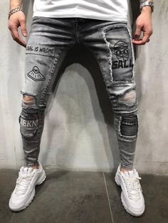 repair jeans Mens Street Style Ripped And Repaired Jeans Printed 4382 Ripped Jeans Style, Ripped Jeans Men, Black Jeans, Patched Jeans, Women's Jeans, Street Mode, Men Street, Street Wear, Repair Jeans