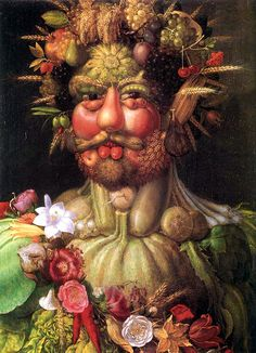 Arcimboldo's unconventional, amusing portraits composed of fruits and vegetables have been attributed to mental illness, but they are most likely a reflection of the abundance of the times and the luxury to enjoy food and art.  But you are what you eat!