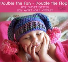 Double the fun - Double the Flop - Free Crochet Hat Pattern For Adult/Child/Toddler sizes. Crochet Gratis, Crochet Cap, Crochet Beanie, Free Crochet, Unique Crochet, Crochet Kids Hats, Crochet Clothes, Crochet Headband Free, Crochet Accessories