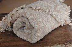 Floral #Jacquard Throw #Blanket, Sand White #Homespun Woven Cotton, Cornucopia Design, #Wedding Gift - SOLD! :)
