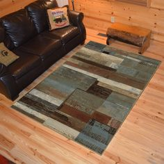 "Rustic Lodge Plank Multi Area Rug (5'3"" x 7'3""), Size 5'3"" x 7'3"" (Polypropylene, Abstract)"