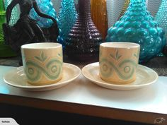 ~CROWN LYNN FUNKY PATTERN COFFEE CANS DUO'S x2~   Trade Me