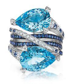 Blue Topaz, Sapphire and Diamond Ring