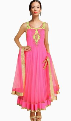 Shine like a diva dressed in this pink embroidered net long Anarkali churidar dress. This dress is showing some really mesmerizing and inventive patterns embroidered with lace, patch and resham work. #AwesomeDesignerCollection