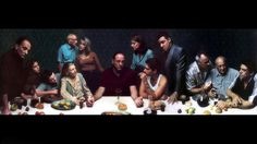 "Annie LEIBOVITZ :: Last Supper [The Sopranos] Vanity Fair, December 1999 / Photography winner of Life Magazine ""Alfred Eisenstaedt Awards"" for Magazine Photography: Best Image portraying person or group"
