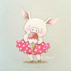 Aida Zamora illustrations - summer piggy