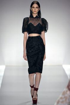 8. Jill Stuart, Spring 2013 - Midriff exposed, rounded shoulders, pencil skirt