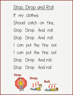 fire safety: stop, drop and roll free printable