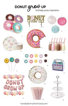 Donut Grow Up Birthday Party Inspiration! Donut Grow Up Birthday Party Inspiration! First Birthday Party Themes, Donut Birthday Parties, Baby Girl First Birthday, Donut Party, Birthday Ideas, 10th Birthday, Hawaiian Birthday, Diy Birthday, Grown Up Parties
