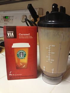 Protein Shake yumminess!!!  8 oz of Almond Breeze milk, 2 scoops of Body By Vi powder, 4-5 ice cubes and one packet of Starbucks VIA Caramel Instant coffee. For added protein I add 1-2 tablespoons of low fat peanut butter. Your breakfast shake will never be the same!!!!