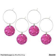 Pink Hydrangea Wine Glass Charm