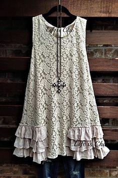 White Tunic Tops, Lace Tops, Lace Ruffle, Ruffle Dress, Cute Fashion, Boho Fashion, Bohemian Hippie Clothes, Chic Outfits, Fashion Outfits
