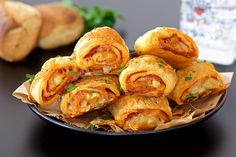 Delicious puff pastry rolls filled with salami and mozzarella (in Croatian) Puff Pastry Pizza, Snack Recipes, Cooking Recipes, Czech Recipes, Party Snacks, Food Design, No Cook Meals, Finger Foods, Food And Drink