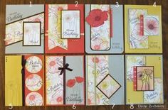 The easiest One Sheet Wonder ever {8 cards from 1 (stamped) sheet - 16 designs described}