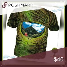 Vermont Portal T-Shirt This all-over print Trip Tree T-Shirt is out of this world and designed by the master of visionary art, Larry Carlson!!  This All Over Print design is made with high-quality, 100% spun polyester that delivers the look and feel of organic cotton without ever cracking, peeling or flaking. It stays wrinkle free and soft to the hand forever, able to withstand summer festivals, late nights and world domination with style and grace.  **SEE COMMENTS Rage On Shirts Tees…