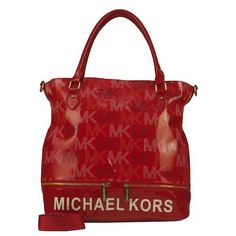 5d6015e39512 Perfect Michael Kors Classic Monogram Large Red Totes
