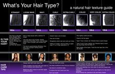 What's Your Hair Type?  I am not too big on categorizing hair types but this is good to keep in mind when purchasing certain products.