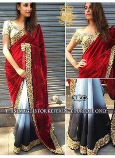 New Maroon & Black Shaded Velvet & Georgette Designer Saree #Saree