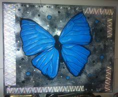 papillon bleu 50x40cm via PayFacile
